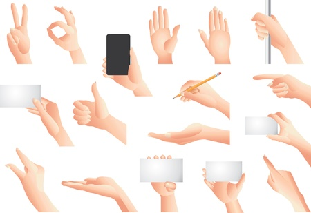 multi touch: hands and gestures vector set