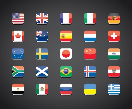 most popular countries flags vector apps icons Vector