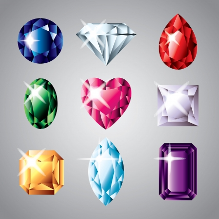 diamonds and gemstones colorful vector set Vector