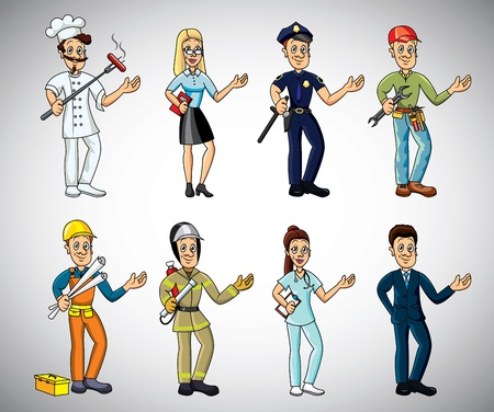 female police: popular jobs and professions cartoon vector set