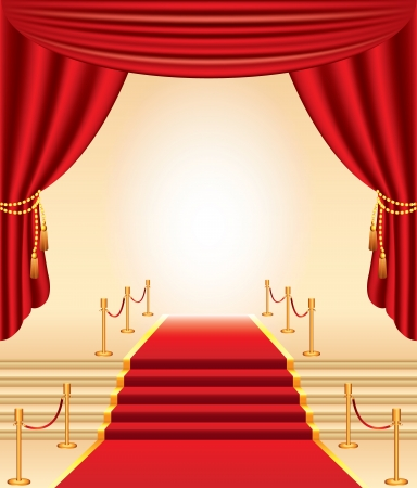 red carpet, golden stanchions, stairs and curtains photo-realistic vector Vector