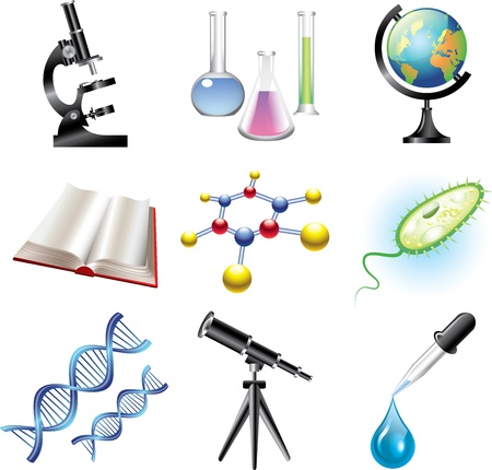 reactions: science and сhemistry vector set Illustration