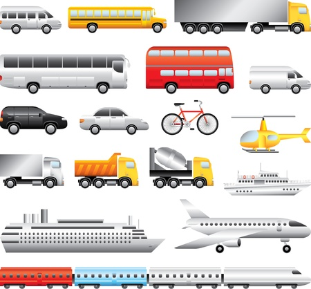 storey: transport big detailed vector set Illustration