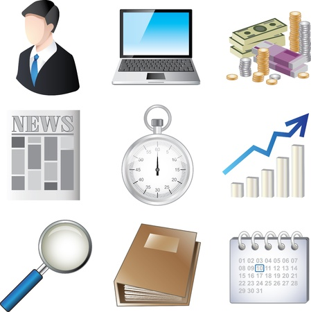 business icons detailed vector set Vector