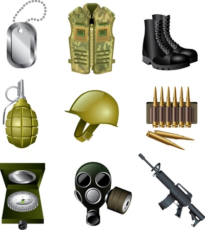 army and military icons detailed vector set Vector
