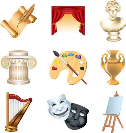 theater masks: art icons detailed vector set