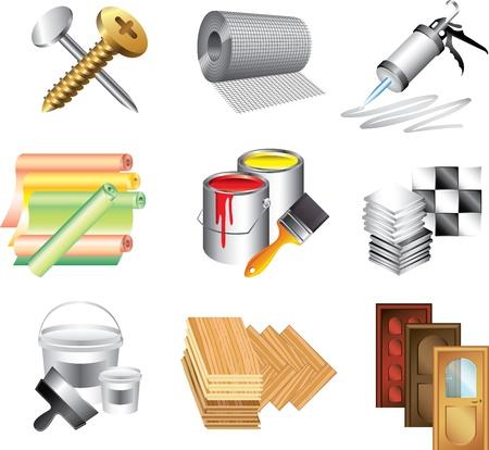 materiali edili: materiali da costruzione icone dettagliate vettore impostata