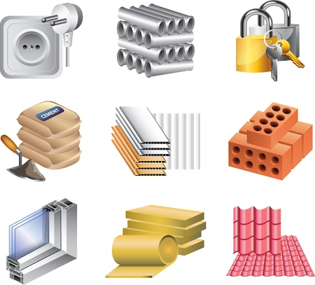 lock block: building materials icons detailed vector set