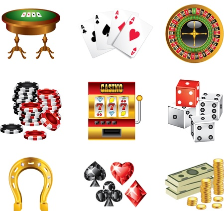 gambling: casino icons detailed vector set Illustration