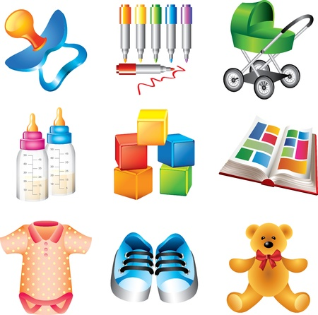 baby picture: baby toys and things detailed icons vector set