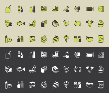 canned fruit: grocery icons vector set