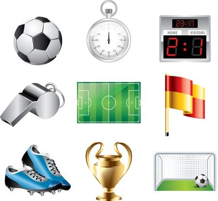 soccer icons detailed vector set Vector