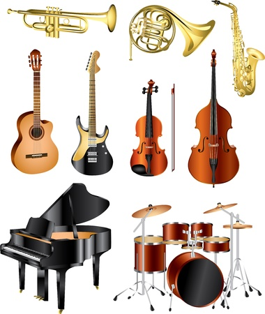 orquesta: instrumentos musicales vector set fotográfico pealistic