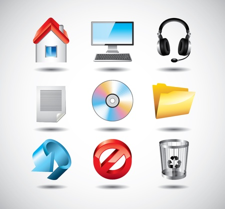 computer system icons detailed vector set Vector
