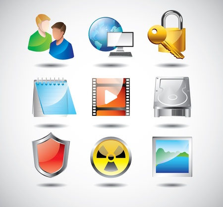 computer hardware: computer system icons detailed vector set