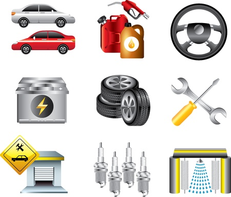 car service: car service and filling station icons detailed vector set Illustration