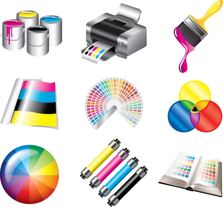 polygraphy: printing and CMYK colors icons detailed vector set