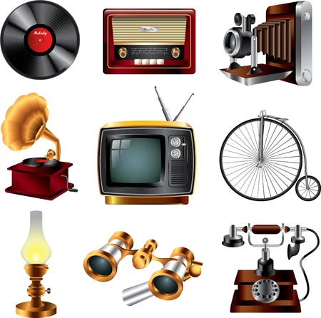 kerosene lamp: retro objects icons detailed vector set