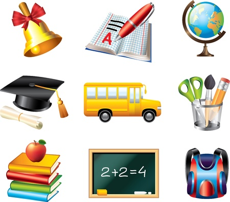 school icons detailed vector set Stock Vector - 19665444