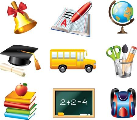 school icons detailed vector set Stock Vector - 19665444