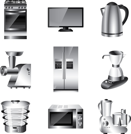 food processor: kitchen appliances detailed vector set
