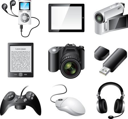 popular electronic devices detailed vector set Vector
