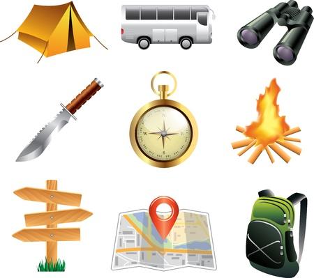 sobreviviente: el turismo y los iconos de camping conjunto de vectores detallada