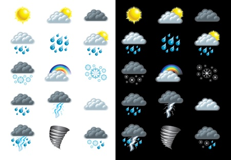 and windy: weather forecast icons detailed vector set