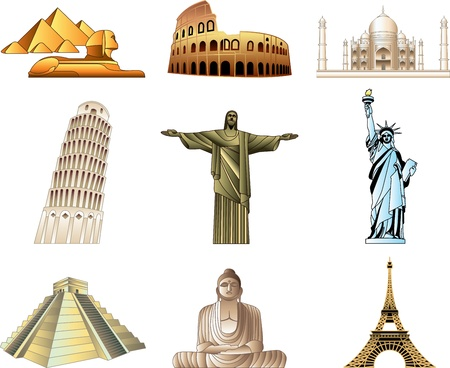 national monuments: world famous monuments icons detailed vector set Illustration