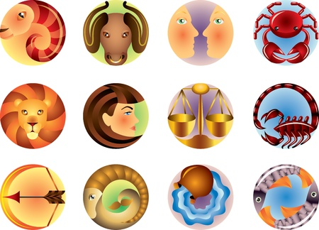 horoscope: Zodiac signs circled vector set Illustration