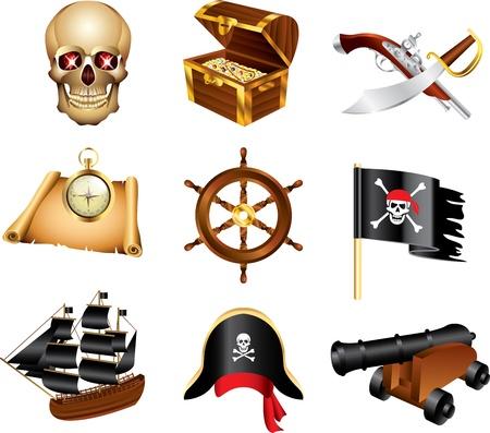 piraten iconen gedetailleerde vector set