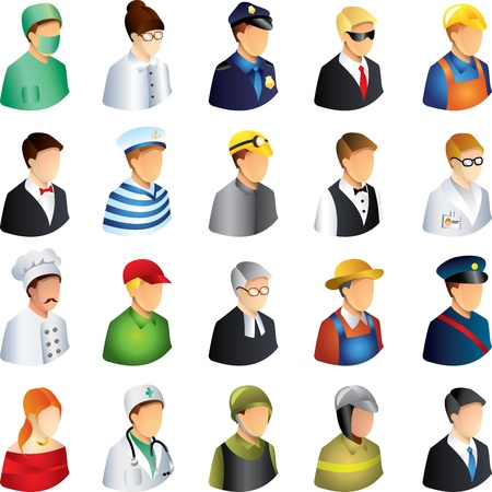 people occupations icons detailed vector set Illustration