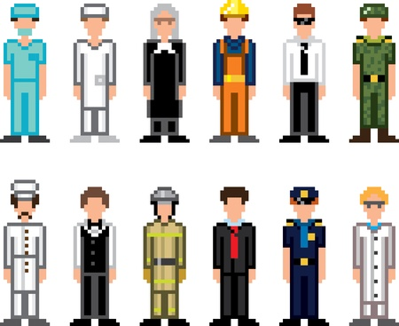people occupations pixel art icons vector set Vector