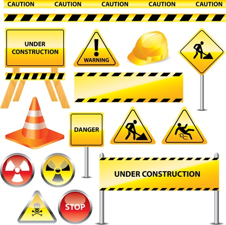 road safety: warning and under construction signs vector set