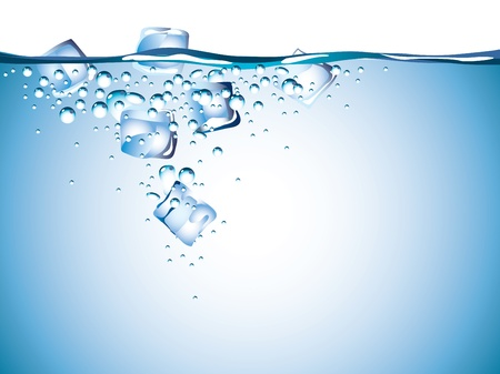 水のクローズ アップの写実的なベクトルのアイス キューブ