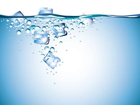fiambres: cubos de hielo en el agua close-up vector fotorrealistas Vectores