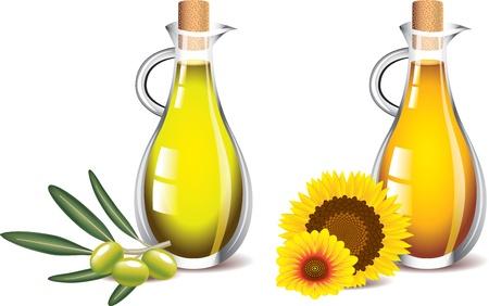 olijf-en zonnebloemolie op een witte foto-realistische vector