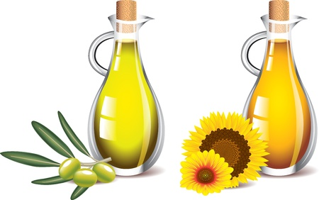 olive and sunflower oils isolated on white photo-realistic vector