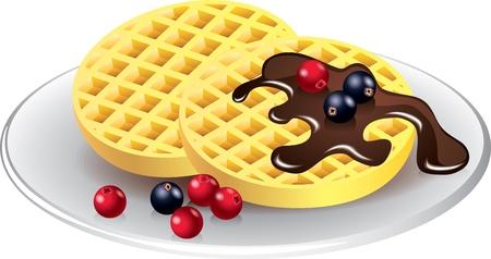 waffles: gofres belgas con el chocolate y las bayas de vectores fotorrealistas Vectores