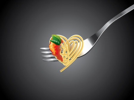 espagueti en el tenedor con salsa de tomate y albahaca fondo vector fotorrealistas