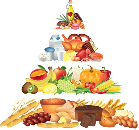 photorealistic: food pyramid photo-realistic illustration