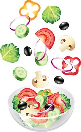 흰색 사실적인 벡터에 고립 된 비행 야채와 샐러드