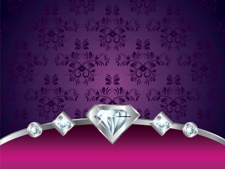 jewelry design: purple vintage luxury vector background with diamonds