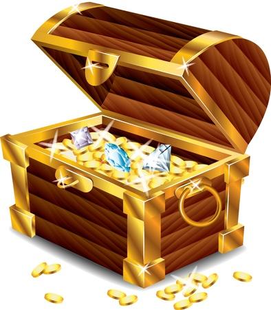 宝物の写実的なベクトルと宝箱を開く