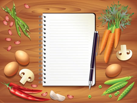 kitchen table top: Top view recipe book on wooden kitchen table, food ingredients photo realistic Illustration