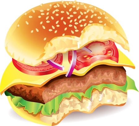 bitten: Hamburguesa mordida con carne, queso, tomate, ensalada y cebollas realistas Vectores