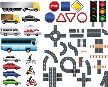 Road map toolkit  signs, markings, transport, traffic light big set Vector