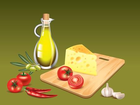 botella de aceite de oliva: Botella de aceite de oliva, la tabla de cortar con queso y tomate, pimiento chilly foto realista Vectores