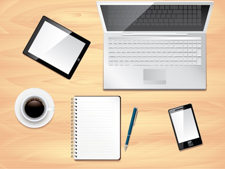 wooden work: Office desk with laptop, notepad, tablet, smartphone and coffee cup top view background Illustration