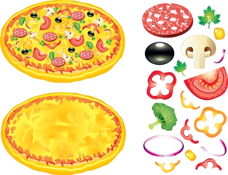 pizza ingredients: Pizza and ingredients  tomatoes, salami, broccoli, black olives and other illustration Illustration